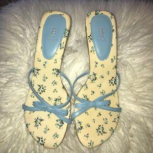 Baker Sandals Size 6B Floral blue Slip on